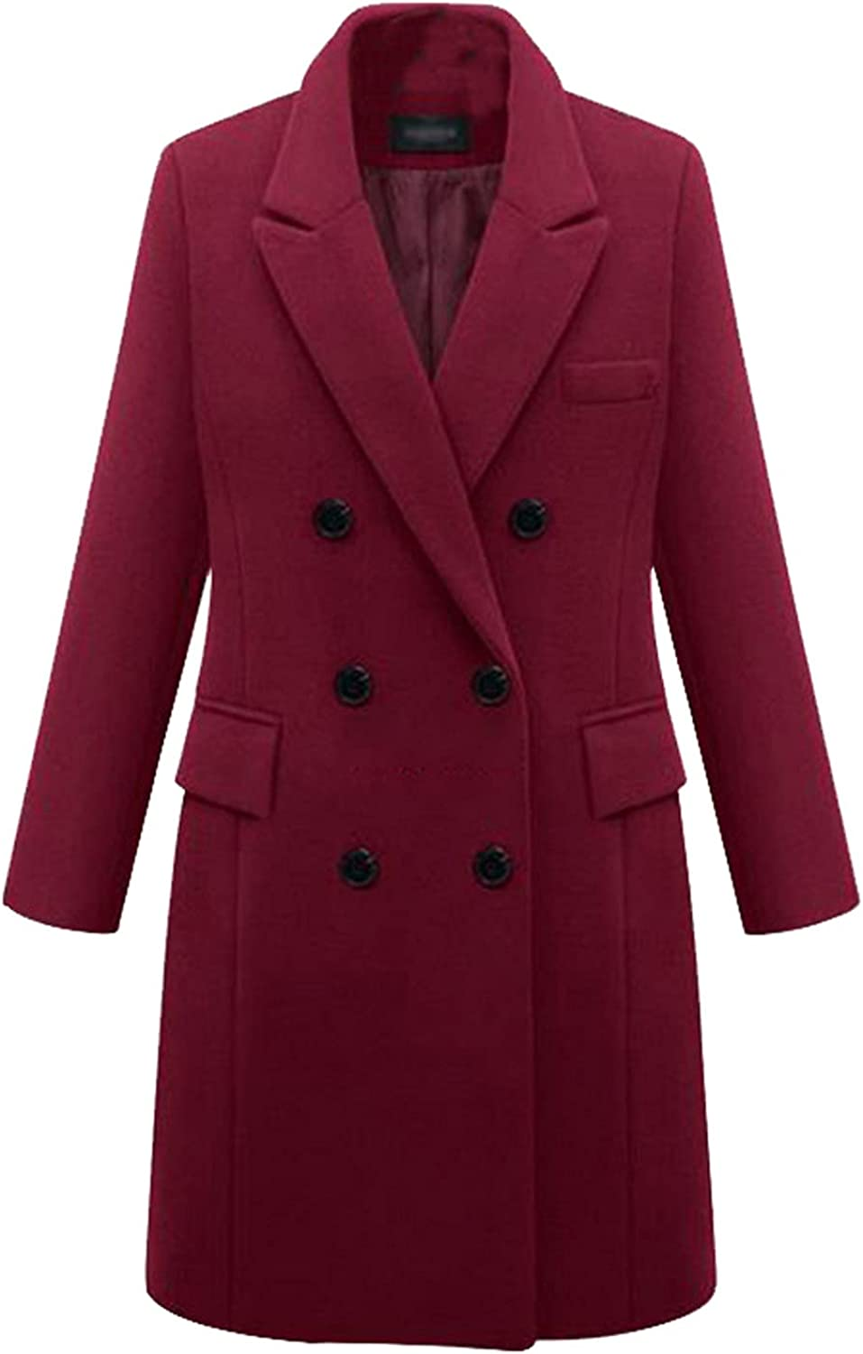 Fashion Jacket Coat Women's Solid Double Breasted Button Front Style Plus Size Coat Tops