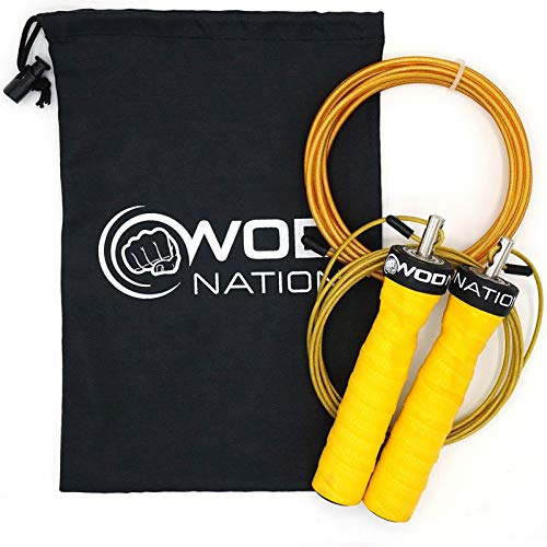 powerful Rope WOD Nation Attack Speed-Adjustable Rope-Unique 2 Rope Skip Workout…