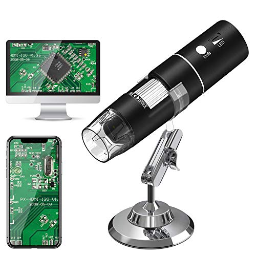 USB Mikroskope,WiFi Digital Mikroskop,HEYSTOP 1080P HD 2MP Mini Kamera,50 bis 1000x Vergrößerung Endoskop,8 LED Digital Mikroskop mit Metallständer Kompatibel mit iPhone IOS Android iPad Windows,MAC