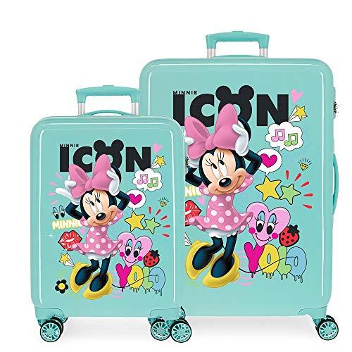 Disney Minnie Happy Helpers Kofferset Blau 55/68 cms Hartschalen ABS Kombinationsschloss 104L 4 Doppelräder Handgepäck