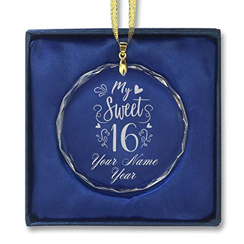 LaserGram Christmas Ornament, My Sweet 16, Personalized Engraving Included (Round Shape)