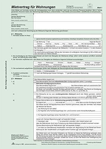 Universal-Mietvertrag für Wohnungen - SD, 3 x 2 Blatt, DIN A4