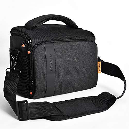 FOSOTO Bolsa Funda Cámara Refléx SLR DSLR Digital Negra de Hombro Impermeable, para 1 Cámara 1 ó 2 Lentes Accesorios para Nikon D5600 D7500 Canon EOS 1300D 700D 1200D Sony a68K FujiFilm