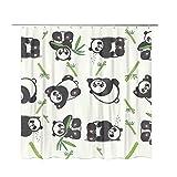 YUNB Duschvorhang, Schimmelbeweis Nicht chemischer Geruch Rostfreie Tülle Schwerlast Waterproof Polyester Fabrik Badvorhang mit 12 Haken für Familienzimmer Dekoration -Lovely Panda