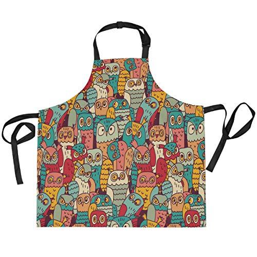 TropicalLife HaJie - Delantal ajustable con diseño de búho, diseño de pájaros, uniforme de chef con 2 bolsillos para hombres y mujeres, cocina, unisex, ropa de trabajo