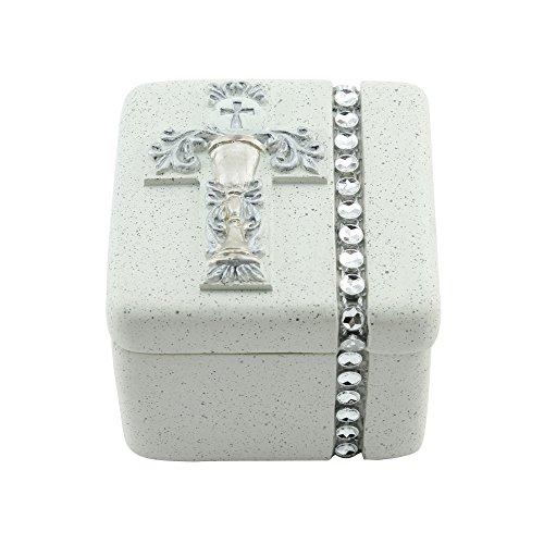 First Holy Communion Silver Chalice Resin Stone Keepsake Rosary Jewlery Box