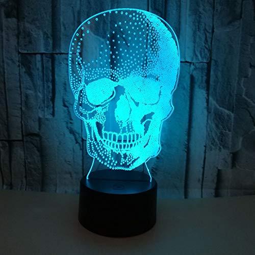 3D Nachtlicht Totenkopf Optische Täuschung Lampe Led Tischlampe 16 Farben Ändern Touch Control Für Kinder Familie Ferienhaus Dekoration Valentinstag Geburtstag Beste Geschenk