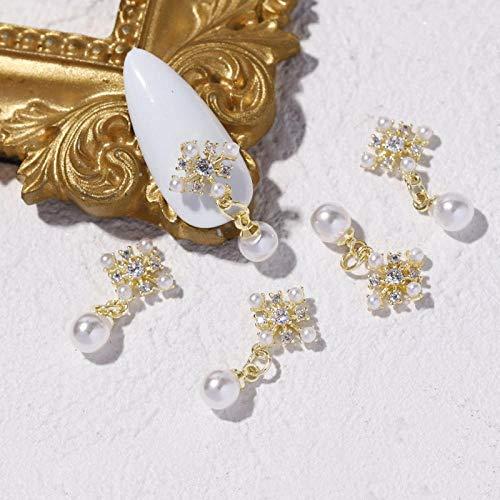 2pcs Lujo Zircon 3D Nail Art Decoraciones Brillante Perla Diamantes Cristal Aleación Colgante Uñas Diseño Accesorios - 1546