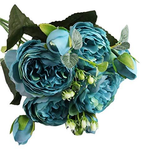LSAltd 1 Bouquet 5 Köpfe Rose Blumenstrauß künstliche Blumen-Bouquet Bridal Blume Hochzeit Wohnaccessoires & Deko Party Garten Dekoration Gefälschte Blumenstrauß