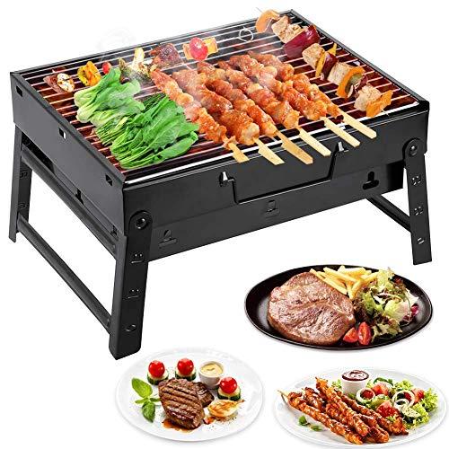Barbacoa Portátil de Acero Inoxidable BBQ de Carbón con Rejilla Portátil Plegable...