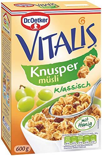 Dr. Oetker Vitalis Knuspermüsli klassisch, Knuspriges Frühstücksmüsli mit Rosinen, 7er Packung (7 x 600g)