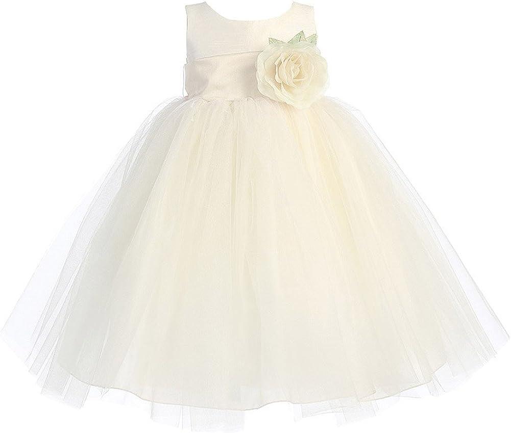 Lito Girl's Blossom Poly Silk Bodice & Tulle Skirt Flower Girl Dress