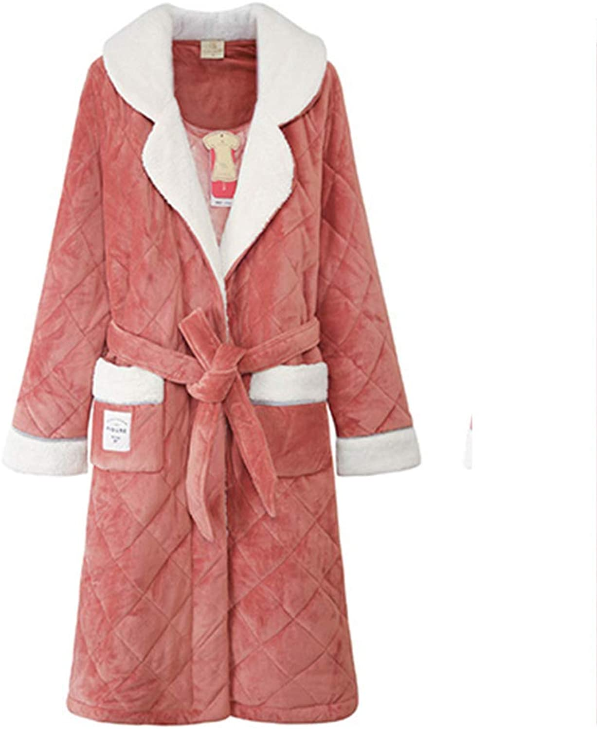 Robe Women's Padded Pajamas Winter Nightdress Home Clothes Tie Bathrobe Warm Pink Bathrobe Pocket Lapel Robes (Size   S)