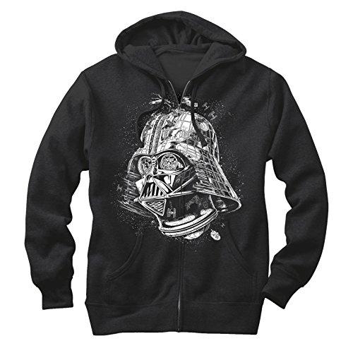 Price comparison product image Star Wars Men's Darth Vader Death Star Black Zip Up Hoodie