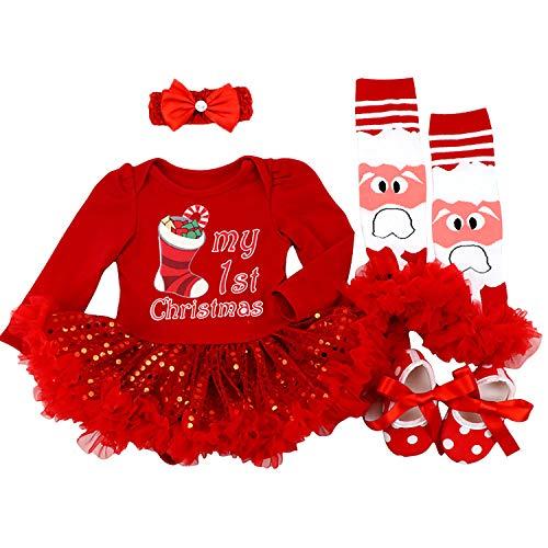 BabyPreg Neonate Il Mio Primo Natale Babbo Costume del Partito del Vestito 4PCS (6-9 Mesi, Calzino Rosso)