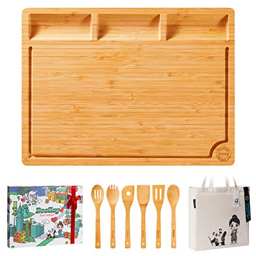 Boelley Extra Large Bamboo Cutting Board with 6 Utensils and 1 shopping bag Wooden Chopping Board for Meat, Vegetables,Charcuterie /Serving Tray with Built-In Compartments w/Juice Groove & Handles