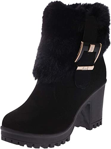ZHRUI Stiefel de Felpa Martin de Moda para damen Tubo Corto Hebilla Gruesa Bota Caliente (Farbe   schwarz, tamaño   2.5 UK)