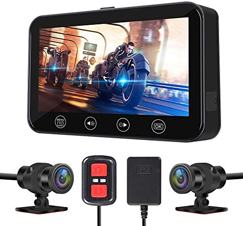 VSYSTO Motorcycle Recording Dash cam Dual Front & Rear 1080P Backup Camera with GPS WiFi 150° Wide...