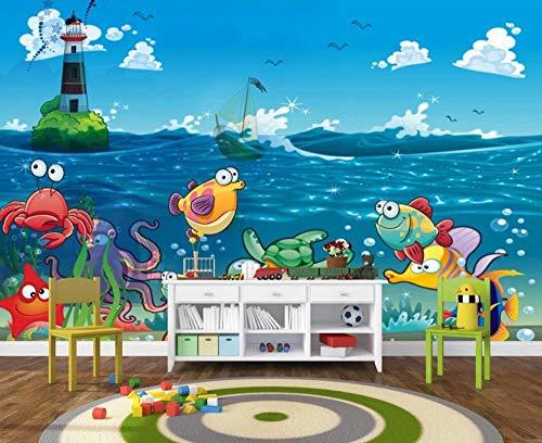 Personalizado Papel Pintado 3d Pared Dibujos Animados Animales Marinos Mar Azul Fotomural fondo Salón Dormitorio Despacho Pasillo Decoración Murales Paredes 200cmX140cm