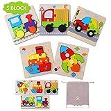 Herefun Puzzles de Madera Juguetes Bebe 1 2 3 años, Tráfico Puzzles 5 Piezas, Rompecabezas Madera Set Montessori niños Inteligencia Juguete, Regalos de Cumpleaños Navidad para niños(5 Pack)