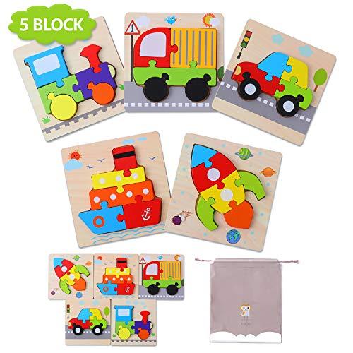 Puzzles de Madera Juguetes Bebe 1 2 3 años, Tráfico Puzzles 5 Piezas, Rompecabezas Madera Set Montessori niños Inteligencia Juguete, Regalos de Cumpleaños Navidad para niños(5 Pack)