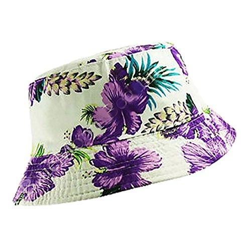 Islander Fashions Adult Baumwolle Sommer Eimer Hut Unisex Jogging Angeln Beach Festival Sun Caps Wei� mit lila Blumen One Size
