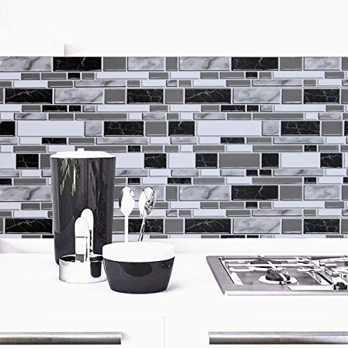 Black and White Peel and Stick Wallpaper for Kitchen,11.8inch x 196.8inch Kitchen Wallpaper Bathroom Self Adhesive Wall Paper Waterproof Countertop Removable Wallpaper Backsplash Vinyl Film Decoration