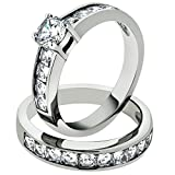 Marimor Jewelry 3.25 Ct Cubic Zirconia Stainless Steel 316 Engagement Wedding Ring Set Size 7