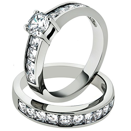 Marimor Jewelry 3.25 Ct Cubic Zirconia Stainless Steel 316 Engagement Wedding Ring Set Size 6