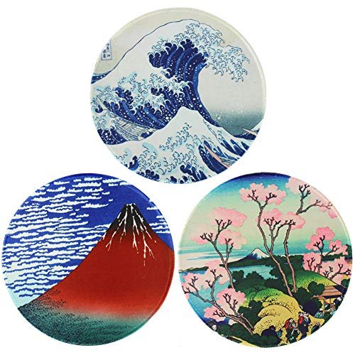 QIELIZI Round Mouse Pad,Non-Slip Rubber Base Mousepad with Stitched Edge,Waterproof Mouse Pad for Working and Gaming(3-Japanese)
