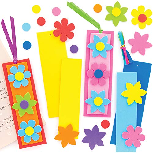 Baker Ross Blumen Mix & Match Lesezeichen Bastelset für Kinder (8 Stück) Kreativsets zum Basteln und Dekorieren zur Frühlingszeit