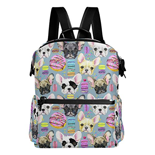 Cute French Bulldog and Macaron Lightweight WaterproofPolyester Large CapacityBackpack Campus Backpack TravelDaypack Grey