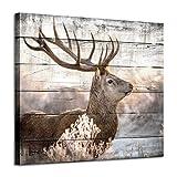 Deer Canvas Wall Art Print: Rustic Elk Artwork Painting Wall Decor for Living/Bedroom Room (24'' x 18'')