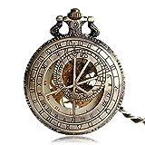 LYMUP Reloj de Bolsillo, Cobre Cadena Retro mecánico Moda Zodiaco constelación Vintage Reloj Elegante Mano Viento Regalo de cumpleaños,Vapor (Color : Bronze)