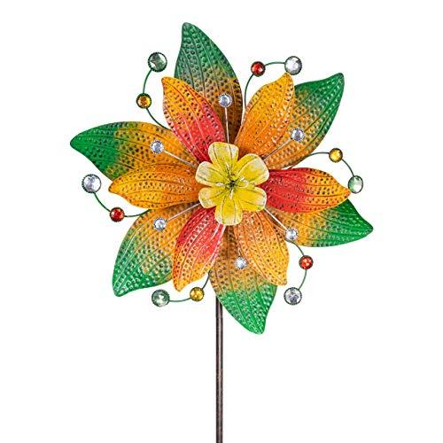 CIM Metall Windrad - Exotic Flower - Ø48cm, Gesamthöhe: 160cm - inkl. 3-teiligem Standstab - leichtgängig drehend (Jamaika)