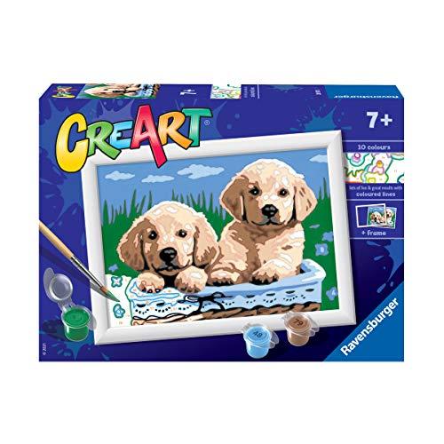 Ravensburger CreArt Perros Retriever, Kit de Pintura, Pintar por Números, Juego Creativo para Niños y Niñas, Edad Recomendada 7+
