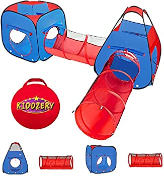 Kiddzery 4pc Kids Play tent Pop Up Ball Pit - 2 Tents + 2 Crawl Tunnels - Children Tent for Boys & Girls Kids Toddlers & Baby Large Playhouse For Indoor & Outdoor With Carrying Case Great Gift Idea