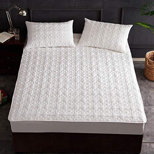 HPPSLT Protector de colchón/Cubre colchón Acolchado, antiácaros, Sábana de Cama de algodón Engrosada-White_180 * 220cm