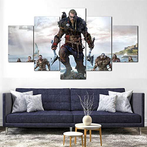 IILSZMT 5 Piezas Impresión En Lienzo Ragnar Assassins Creed Valhalla Cuadro para Sala Estar Póster De Arte Pared Pintura Decoración Hogar 150Cmx80Cm