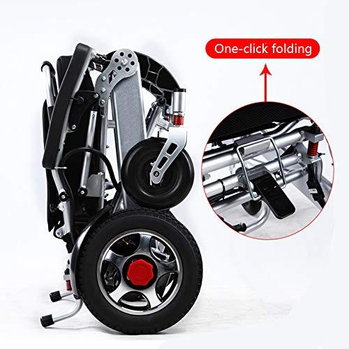 ZZUU Faltbarer Elektrischer Rollstuhl/Intelligente Automatische/Leichte Falten Deluxe/für ältere und behinderte Menschen,Silver