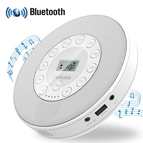 Portable CD Player with Bluetooth,Personal Walkman MP3 Players 2000mAh Rechargeable Compact Car Disc CD Music Player USB Play Built-in Stereo Speaker Anti-Shock Protection (White)