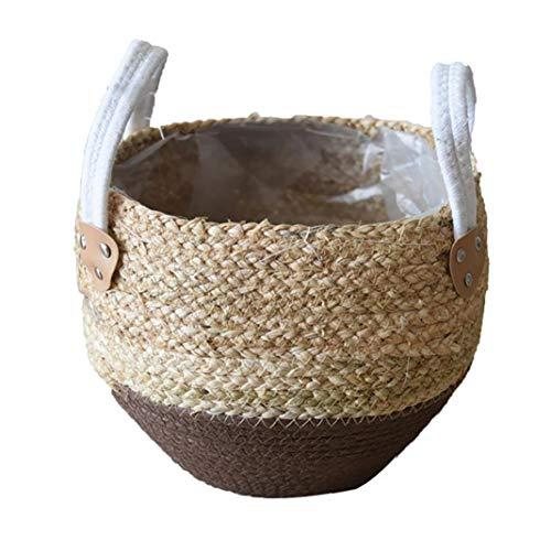 lulongyansf Strohblumentopf Seagrasss Körbe Picknick Blumentopf Rattan Toter Bauch Basket Grocery mit Griff für Lagerung Dekoration Hauptgarten