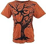 Guru-Shop Sure T-Shirt OM Tree, Herren, Rostorange, Baumwolle, Size:L, Bedrucktes Shirt Alternative Bekleidung
