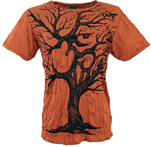 Guru-Shop Sure T-Shirt OM Tree, Herren, Rostorange, Baumwolle, Size:L, Bedrucktes Shirt Alternative Bekleidung