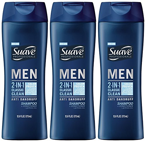 Suave Men 2-in-1 Anti-Dandruff Shampoo and Conditioner, Classic Clean, 12.6 Ounce (Pack of 3)