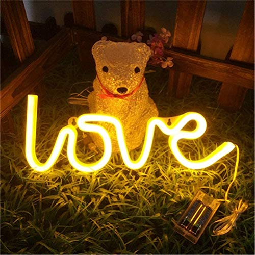 NEWTOWN-Love Neon Signs, LED Neon Light for Party Supplies, Girls Room Decoration Accessory, Table Decoration, Children Kids Gifts (Warm White)