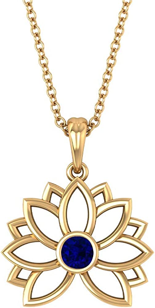 0.15 Carat Tiny Solitaire SGL Certified Blue Sapphire Lotus Pendant, Solid 14k Gold Floral Charm Pendant Necklace, Minimal July Birthstone Flower Chain Pendant 18K Gold