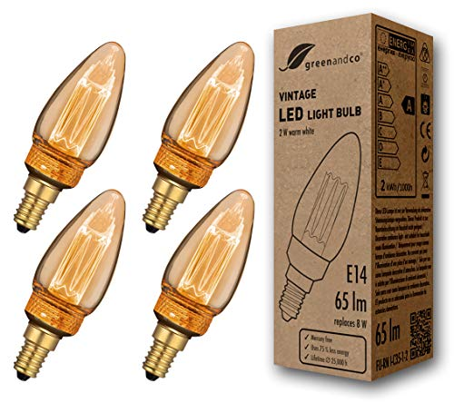 4x greenandco® Vintage Design LED Kerze im Retro Stil zur Stimmungsbeleuchtung E14 C35 Edison Glühbirne, 2W 65lm 1800K extra warmweiß 320° 230V flimmerfrei, nicht dimmbar, 2 Jahre Garantie