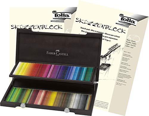 Faber-Castell - Farbstifte Polychromos, 120er Holzkoffer + Skizzenblöcke A3