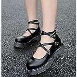 HHXXTTXS Zapatos de niña Lolita Zapatos de Mujer Cosplay Zapatos de Mujer Zapatos de Princesa Estilo Vintage Zapatos Individuales Atados Cruzados